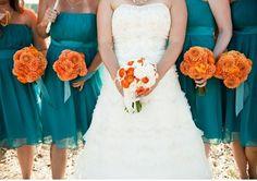 A beautiful orange and turquoise wedding.