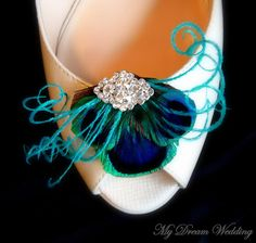 Peacock Feather Shoe Clips. Teal peacock  Shoe Clips. Feathers, Bride, Bridal, Wedding- ALEXANDRA-