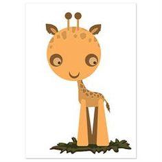 Farveladedyr Plakat - Giraf 30x40 cm.