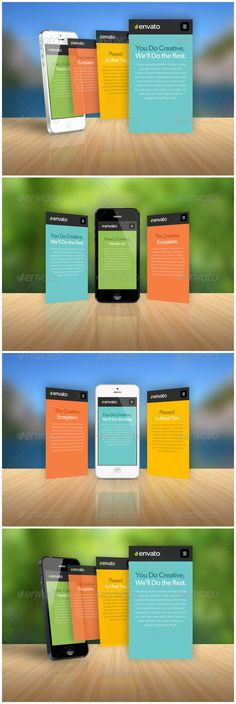 Phone App Showcase by henryhu FeaturesVector traced iPhone5 mockups Both black and white phone models Smart Objects, easy to put in your own UI design High reso