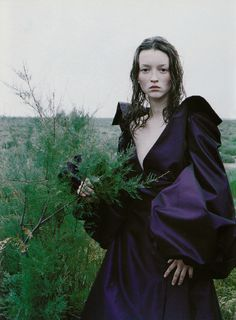 """""""The Bohemian Couture"""": Audrey Marnay photographed by Peter Lindbergh for Vogue Italia, September 1998"""