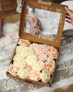 Beautiful for wedding! Find 2019 spring 32 colors artificial roses, 20 Off Diy Wedding Decorations, Flower Decorations, Wedding Centerpieces, Diy Quinceanera Decorations, Jar Centerpieces, Wedding Crafts, Paper Flowers Diy, Flower Crafts, Foam Roses
