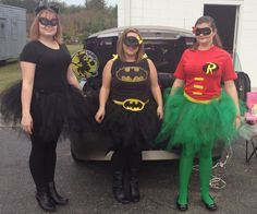 The Batman, Robin and Cat Women costumes my daughter and I made  for Halloween :)