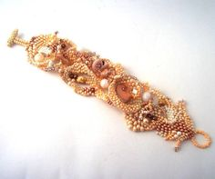 Freeform beaded cuff bracelet, Delicious colors Champagne Cream and beige