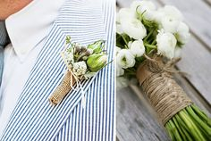 burlap on boutonniere!  Love!  Also, did they dye the burlap turquoise on the bunting?