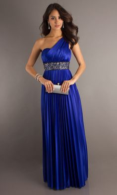 2013 Hot Sale Sheath/Column Chiffon One Shoulder Floor-length Beading Royal Blue Evening Dresses (UKLF062)