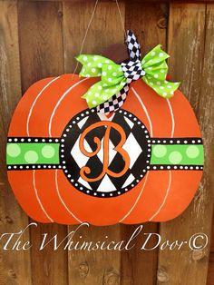 Wooden Painted Pumpkin Door Hanger Fall by TheWhimsicalDoor, $50.00