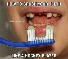 How to brush your teeth like a hockey player!