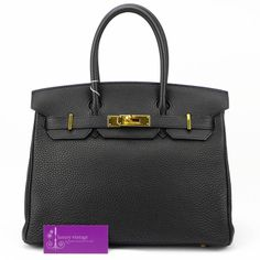 Hermes Birkin35-Black-Cherve Coromandel-Gold Buckle-