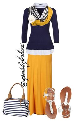 A fashion look from April 2015 featuring Morgan sweaters and Stella & Dot handbags. Browse and shop related looks. Modest Dresses, Modest Outfits, Skirt Outfits, Casual Outfits, Cute Outfits, Modest Clothing, Church Outfits, Fall Outfits, Summer Outfits