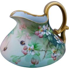 """Ester Miler H.P. Cider Pitcher with Peach Blossoms, Peaches and Bumble Bees- signed """"E. Miler"""""""