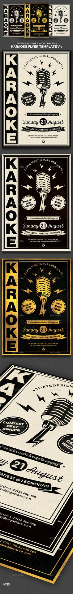 Karaoke Flyer Template V3 — Photoshop PSD #club #band • Available here → https://graphicriver.net/item/karaoke-flyer-template-v3/12897018?ref=pxcr