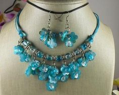 (W808) blue fashion seashell necklace/earring set/$1 combined s/h,ship fast(w2)