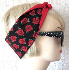 Red Rose Rockabilly Hair Tie Head Scarf by Dolly Cool by DollyCool, £5.71