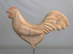 Carved Folk Art Rooster Weathervane
