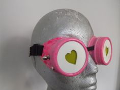 Pink Modified hand painted welding goggles with led by OtterKraft