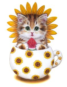 flowers mug cats Diy Diamond Paintings Cross Stitch Needlework inlay Square Drill Icon Diamond Embroidery Wall sticker Decor 877 Cute Kittens, Cats And Kittens, I Love Cats, Crazy Cats, Cute Images, Cute Pictures, Teacup Kitten, Image Chat, Cat Drawing