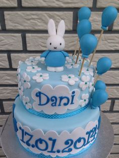 Nijntje geboorte taart blauw