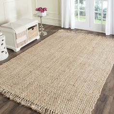 Add a rustic look to your home or office decor with this jute rug. Hand made from high quality natural jute, this beautiful rug will enhance any space. Primary materials: Jute Latex: No Pile height: 0 Natural Fiber Rugs, Natural Area Rugs, Natural Rug, Natural Brown, Natural Texture, Natural Light, Seagrass Rug, Jute Rug, Woven Rug