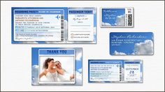 BOARDING PASS TICKETS - WEDDING INVITATIONS modern flight tickets invitations with airplane