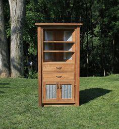 Rustic Corner Cabinet   Reclaimed Barn Wood W/Barn Tin #6202