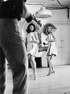 "Real-life sisters Françoise Dorléac and Catherine Deneuve on the set of director Jacques Demy's dance musical ""Les Demoiselles de Rochefort"", 1966."