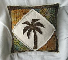 Quilted patchwork palm tree boho pillow cover, brown, greens and earth tones batik and natural denim 18 inch