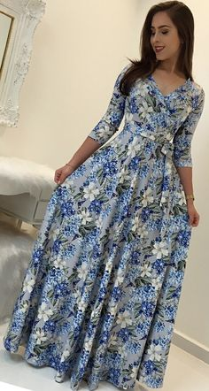 Floral Print Bohemian Maxi Dress - - Boho dress, bohemian fashion dress, maxi dress Source by mookyboutique Prom Dresses With Sleeves, Modest Dresses, Cute Dresses, Modest Clothing, Mode Outfits, Chic Outfits, Fashion Outfits, African Fashion Dresses, African Dress