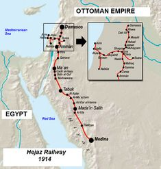Map of the Hejaz railway (Damascus-Mecca pilgrim route); built at great expense by the Ottoman Empire in the early 20th century, but quickly fell into disrepair after the Arab revolt of 1917