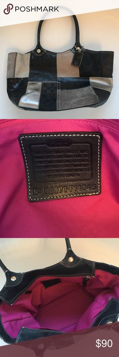 Black Patchwork Coach Purse EUC black patchwork coach purse. Red lining. Loved this purse!  Had to get a smaller bag after having my daughter and carrying a diaper bag everywhere. Coach Bags Satchels