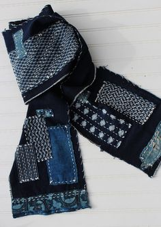 Boro scarf made from vintage Japanese aizome by IndigoMountains