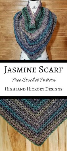 Crochet the beautiful Jasmine Scarf with this free pattern! Using only easy stitches, the Jasmine scarf is a cross between an infinity scarf and a triangle scarf, but without the triangle points that constantly slip. Crochet Beanie, Knit Or Crochet, Crochet Scarves, Crochet Crafts, Crochet Stitches, Crotchet, Easy Crochet Shawl, Shawl Patterns, Crochet Patterns