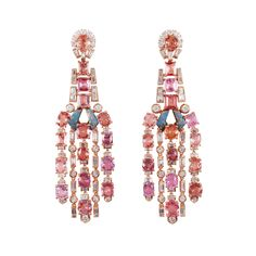 Padparadscha Sapphire Earrings – Claudia Ma Fine Jewellery with Rose Gold 32 Padparadscha Sapphires 54 Baguette Diamonds 14 Tapered Diamonds 36 Brilliant Round Diamonds Diamond Chandelier Earrings, Sapphire Earrings, Jewelry Design Drawing, Baguette Diamond, 18k Rose Gold, Gemstone Colors, Round Diamonds, Ears, Fashion Ideas