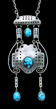 This is not contemporary - image from a gallery of vintage and/or antique objects. FERDINAND C. MORAWE 1865-1931 for THEODOR FAHRNER Jugendstil Pendant Silver Turquoise