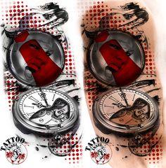 Polkatrash Taschenuhr Tattoo Trash Polka Motiv Ideen Design by Tattooinsel