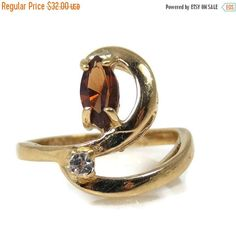 Easter Sale Uncas Honey Topaz CZ Ring Size 6 18K Gold Plated #jewelry #vintage #bestofEtsy