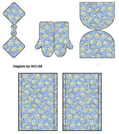 Printies for matching set of dollhouse kitchen towels, oven mitts, toaster cover (?) | Source: Imelda, website onknown