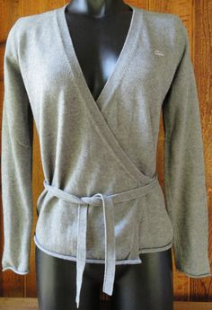 LACOSTE Logo Womens Cashmere Cotton Blend Belted WRAP SWEATER 40 US 8 Gray L/S  #Lacoste #WrapSwing