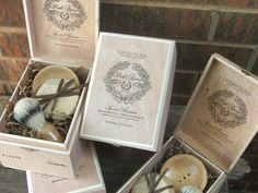Groomsmen Shave Sets, Mens Wedding Gifts 4 piece set Wooden Men's Shave Set with Cigar Box grooming, shaving,. $180.00, via Etsy.