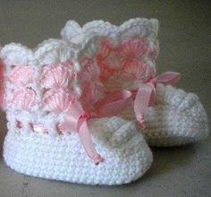 Imágenes para Ref # 262784 - Crochet botines del bebé - rosa y blanco - 6 al 12 de Mo