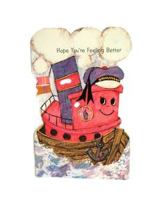 Get Well Card By Sands - Vintage Tommy Tugboat Greeting Card - Unused! by FunkyKoala on Etsy