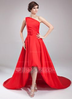 A-Line/Princess One-Shoulder Asymmetrical Taffeta Evening Dress With Ruffle (017020673) - JJsHouse