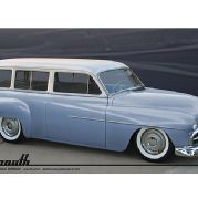 1951 Plymouth Suburban Blue Body Passenger Side Front View