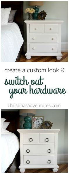 EASY home update: switch out your hardware for a custom look. This gives a collected feel to your home instead of having it look like a cookie cutter home!