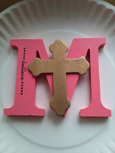 Hand painted M with small cross