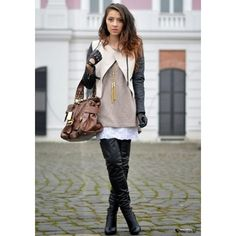 Black and white leather jacket and thigh boots outfit Black High Boots, Thigh High Boots Heels, High Leather Boots, Leather Gloves, High Heels, White Leather, Women's Gloves, Leather Jacket, Knee Boots