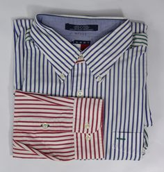 Vintage 90's Tommy Hilfiger Mens XL Red Blue Green Flag Colorblock Striped Shirt #TommyHilfiger #ButtonFront
