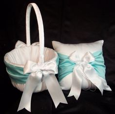 Use coupon code PINITFREESHIP for FREE shipping! Tiffany Spa Blue & White or Ivory Wedding Ring Bearer Pillow & Flower Girl Basket by Jessicasdaydream