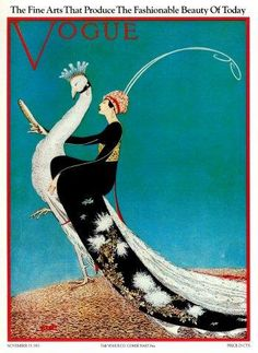 Fabulous Art Deco Vogue Cover Poster of Woman on White Peacock. 1918 Vogue Cover by George Plank. Vogue Vintage, Vintage Vogue Covers, Poster Vintage, Vintage Art, Vintage Woman, Vintage Prints, Vintage Designs, Vogue Magazine Covers, Art Deco Posters
