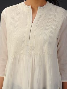 Buy Cream Pintuck Detailed Cotton Voile Top Online at Jaypore.com